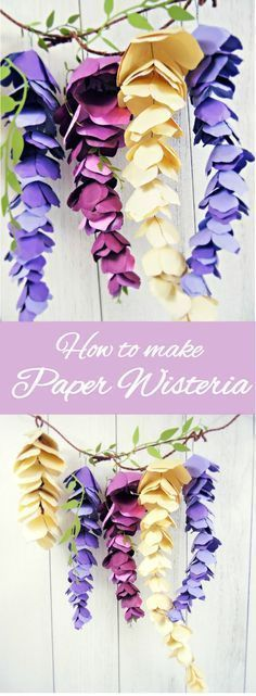 Paper Wisteria Tutorial: DIY Hanging Paper Wisteria Flowers - Diy and craft Giant Paper Flowers, Diy Flowers, Paper Flowers How To Make, Hanging Paper Flowers, Origami Flowers, Wedding Flowers, Hanging Paper Decorations, Diy Paper Flower Backdrop, Paper Flowers Wall Decor