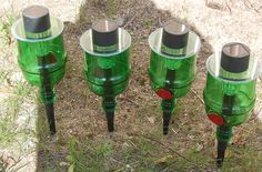 Tanqueray Gin  Bottle Solar Lights -Set of 4-Garden Decor-Beach-Home-Party by SimplyGlass via Etsy