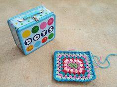 lunchbox inspired granny square, crochetbug, crochet rectangle, granny rectangle, granny goodness