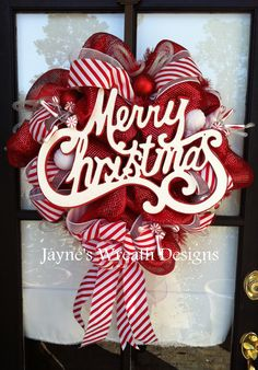 Christmas Wreaths - add words to my candy cane wreath