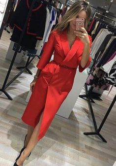 Available Sizes : S;XL Bust(cm) : Waist(cm) : Hip(cm) : Type : Slim Material : Polyester Color : Red Decoration : Pockets, Sashes Pattern : Plain Collar : Turndown Collar Length Style : Below Knee Sleeve Length : Lon Classy Outfits, Chic Outfits, Outfit Chic, Tuxedo Dress, Mode Outfits, Work Attire, Mode Style, Work Fashion, Style Fashion