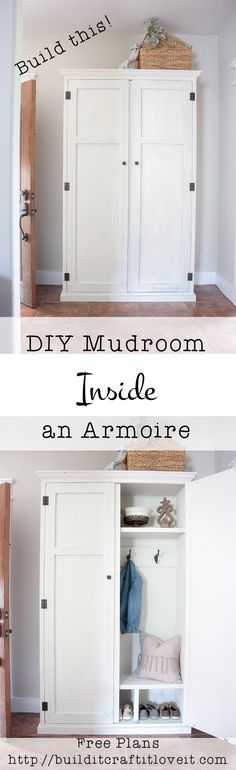 See how you can transform your entry way with hiding a cute mudroom setup inside an armoire!! Free plans for a DIY mudroom in an armoire!