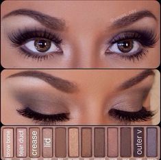 Naked 1 palette urban decay eye shadow tutorial how to, day or night look :) #eyeshadowspalette