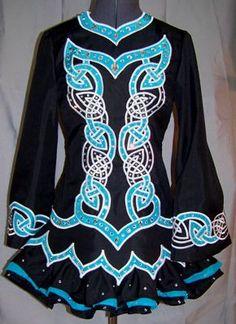 Beautiful black Irish dance solo dress with aqua and white Celtic knot work: Dance Dressess