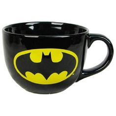 Batman Logo 24oz Ceramic Soup Mug ❤ liked on Polyvore featuring home, kitchen & dining, drinkware, batman, mugs, batman mug, ceramic soup mug, logo mugs, soup mugs and ceramic mugs