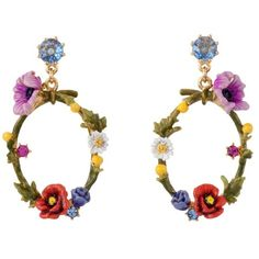 Les Néréides WILD BLOSSOMS BLUE STONE AND FLOWERS SMALL HOOPS (1.485 NOK) ❤ liked on Polyvore featuring jewelry, earrings, blue pink red green, jewelry earrings, pink flower earrings, blue earrings, pink hoop earrings, red earrings and green earrings