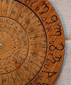 Cypher Wheel Cipher Disk Wood with Theban, Ogham, Enochian, & Celtic Rune Scripts