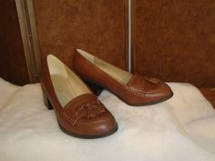 New Miso Sz 7 US 40 EU Brown Leather Tassel Top High Heel Loafers #Miso #Loafers