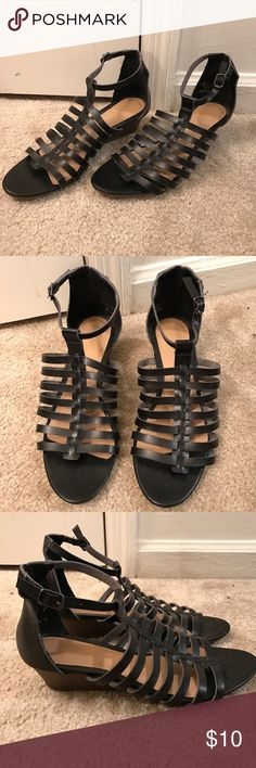 Black Gladiator Heeled Sandals  Black Gladiator style sandals with a slight heel to them. Good condition Old Navy Shoes Sandals