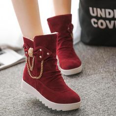 British Thick Round Toe Chain Decorate Short Boots #UggsBoots