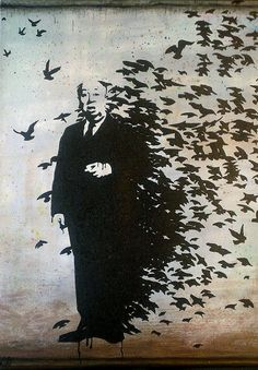 "Banksy ""Alfred Hitchcock and The Birds"" Graffiti Street Art"
