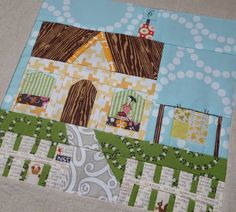"""Fabric Mutt designed a great mini quilt that looks like a block from the """"Hometown Quilt"""" I've created in my mind. I need me some Lizzy House Peartl Bracelet in Pond or Aqua, and a little Simple Life by Tasha Noel for Riley Blake for some fussy cute peeps."""