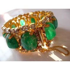 vintage Hobe flawed emerald art stones smoky rhinestone gold tone... ($187) ❤ liked on Polyvore featuring jewelry and bracelets