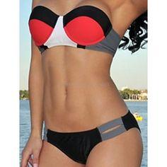 e5e46f3a85b Australia Wholesale Price Swimwear Color Block Push-up  Sexy Leisure Gather  Together Bandage Halter