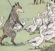 Fox & Geese Hugh Spencer Vintage Illustration 1927 Original Art Print For Children To Frame