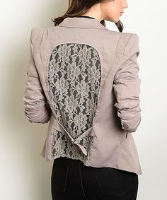 Another great find on #zulily! Taupe Lace-Back Button-Up Blazer #zulilyfinds