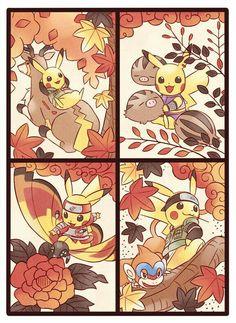 Team 10, Ino, Shikamaru, Choji, Asuma, Pikachu, Naruto, crossover, cool, cute, Stantler, Swinub, Mothim, Monferno, cosplay; Pokémon