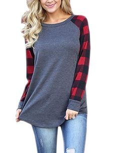 2a0fbb6ce46 honie girl Fall Shirts for Teen Grils with Raglan Plaid Long Sleeve Plus  Size Tops Red