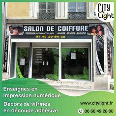 Enseignes en Impression numérique + Décors de vitrines en découpe adhésive pour un salon de coiffure Afro-Antillais #impressionnumerique #decorvitrine #marquageadhesif #decoradhesif #enseigne #enseignecoiffeur #coiffeurafroantillais #coiffeur