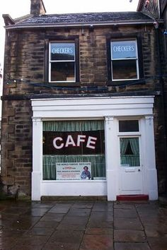 "Holmfirth, England...Sid and Ivy's cafe in the ""Last of the Summer Wine"" series."