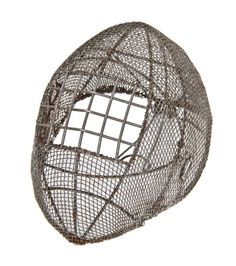 late 19th or early 20th century heavily reinforced galvanized steel mesh fencing mask or helmet