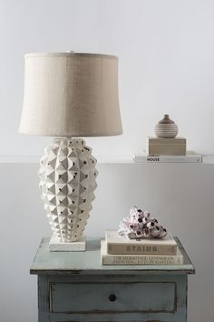 The white-washed Holbrook lamp by Surya would look perfect in a contemporary, rustic or coastal-inspired space! (HBK-100)