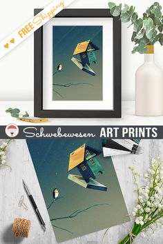Flying Birdhouse Art Print, Funny Bird Painting Sage Green Deco, Birdwatcher Gift, Dreamy Illustration, Bird Lover Home Decor