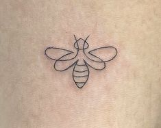 One Line Tattoo, Line Art Tattoos, Time Tattoos, Tatoos, Honey Bee Tattoo, Bumble Bee Tattoo, Bee And Flower Tattoo, Bee On Flower, Dainty Tattoos