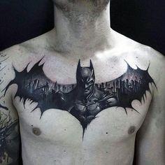 Batman Guys Tattoo Chest Black Ink Design