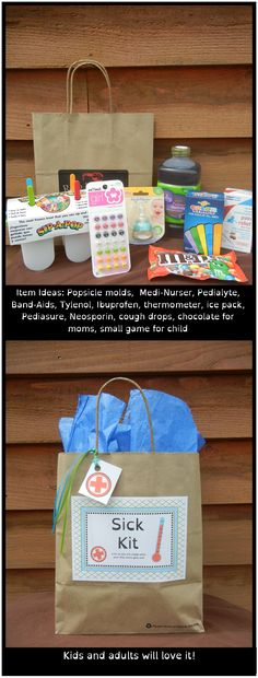 "Create a ""Sick Kit"" - they are great for a child who is sick, or as a gift for the expecting mom.  Everything you need for when your little ones get sick."