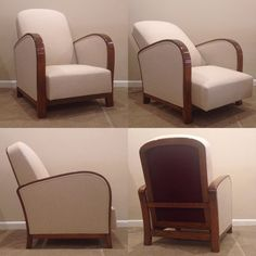 Pair French Art Deco Reclining Club Chairs by ClassicAntiquesPHL