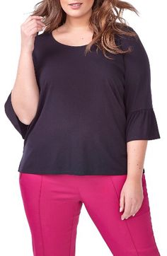 MICHEL STUDIO MICHEL STUDIO Flare Sleeve Tee (Plus Size) available at #Nordstrom