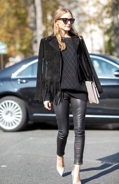 Olivia Palmero | All black | Leather pants | Middle hair part | Harper and Harley