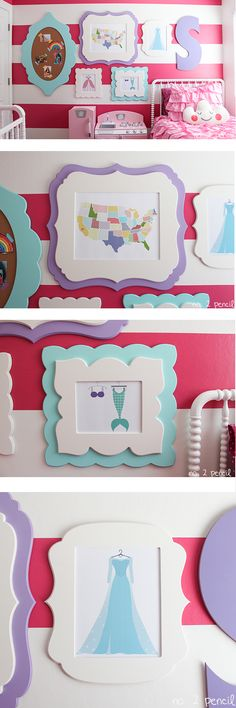Colorful DIY Gallery Wall for Little Girl's Room