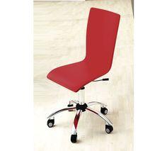 Silla giratoria de oficina en piel textil rojo.
