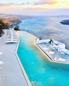 This exceptional boutique hotel features an infinity pool offering incredible panoramic sea views! Did you know that Santorinis sunsets are well know for being among the most spectacular in the world Santorini Sunset, Santorini Greece, Dream Vacations, Vacation Spots, Places To Travel, Places To See, Travel Around The World, Around The Worlds, Mykonos