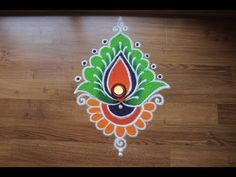 Simple,Easy and Quick freehand Rangoli designs with colours/ Rangoli Designs by Shital Daga Easy Rangoli Designs Videos, Easy Rangoli Designs Diwali, Indian Rangoli Designs, Rangoli Designs Latest, Simple Rangoli Designs Images, Rangoli Designs Flower, Free Hand Rangoli Design, Rangoli Border Designs, Small Rangoli Design