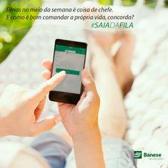 """Agora você pode pagar suas contas e fazer outras movimentações bancárias usando o Banese Mobile Banking no seu smartphone ou tablet.  É prático, seguro e você ganha mais tempo para fazer o que gosta. #saiadafila  Baixe o aplicativo para iOS aqui: """"link"""" Para Android aqui: """"link"""""""