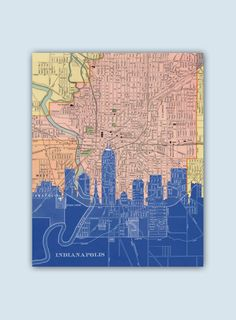 Indianapolis Skyline, Indianapolis Decor, Indianapolis Print, Personalized Skyline Print, Wedding Gift, Indianapolis Map, Indiana Wall Art by GeographicArt on Etsy