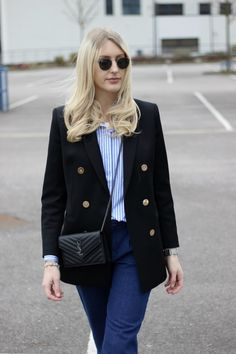 fashion blogger styling blazer outfit inspiration with a saint laurent bag
