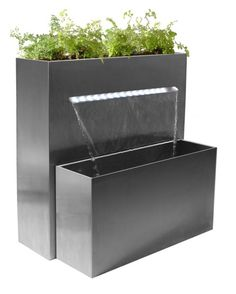 Sutherland Falls Large Rectangular Planter Waterfall Cascade With LED Lights - x Plant Troughs, Grands Pots, Rectangular Planters, Waterfall Fountain, Fall Planters, Flower Planters, Stainless Steel Types, White Led Lights, Luz Led