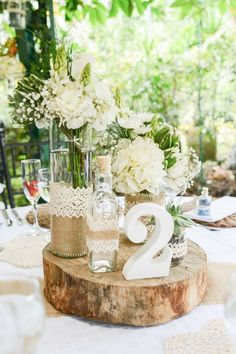 rustic burlap and lace wedding centerpieces via diana zuleta / www.deerpearlflow… rustic burlap and lace wedding centerpieces via diana zuleta / www. Lace Wedding Centerpieces, Rustic Centerpieces, Wedding Table, Diy Wedding, Wedding Flowers, Wedding Day, Table Decorations, Centerpiece Ideas, Elegant Wedding
