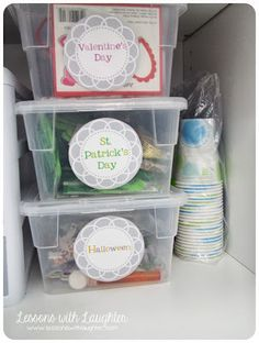 organize seasonal/leftover party supplies