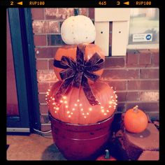 Lighted pumpkin display. #diy #pumpkin #fall #lights