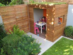 Create A Backyard Garden Playhouse Modern Playhouse, Diy Playhouse, Playhouse Outdoor, Kids Garden Playhouse, Play Area Garden, Back Gardens, Small Gardens, Sedum Roof, Design Jardin
