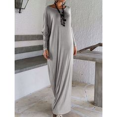 Choies Gray Boat Neck Long Sleeve Ruched Maxi Dress ($18) ❤ liked on Polyvore featuring dresses, grey, gray maxi dress, maxi dress, ruching dress, shirred dress and longsleeve dress