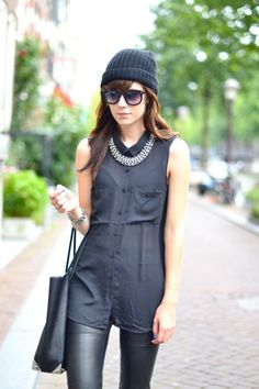 Look of the day: Wearing all black and a beanie. #fashion #trend