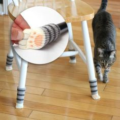 Grey Tabby Cat Paw Chair Socks