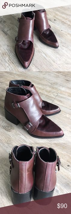 CIRCUS by Sam Edelman Boots Structured pointy-toe ankle boots in rich leather from Circus by Sam Edelman, topped with a double monk strap closure. Finished with brushed pony hair paneling and rubber block heels. Circus by Sam Edelman Shoes