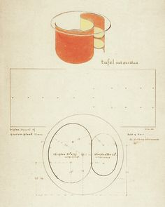 Gerrit Rietveld, design for a table, 1935.